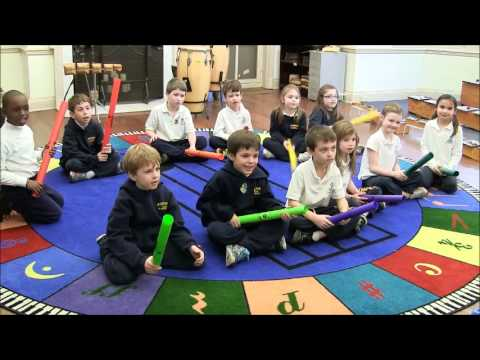 First Graders Play Boomwhackers