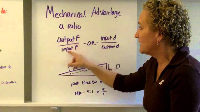 Machines, mechanical advantage, efficiency